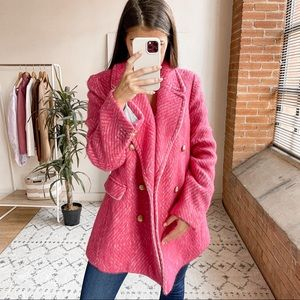 J.Crew Diamond Tweed Italian Wool Peacoat Pink